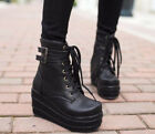 stylish hot Women Platform Wedge Heels Lace Up Goth Ankle Boots Shoes Puls Size