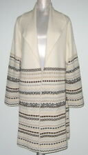 Hannah Rose FAIR ISLE 100% Cashmere CARDIGAN Coat Sweater Women XL Ivory NWT