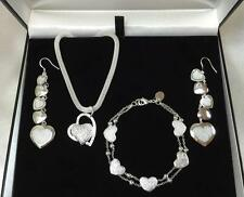 Heart Necklace Bracelet Earring Jewellery Set 925 Sterling Silver New+Gift Bag