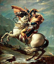 """Oil painting Jacques Louis David - Napoleon Crossing the Alps on White Horse 36"""""""