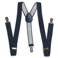 Navy Blue Suspender with White Dots for Adults Men Women Teenagers (USA)