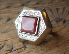 Men's square Niger  Tuareg hexagonal agate hand engraved ring