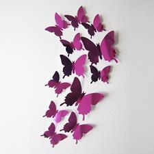 Wall Stickers Decal Butterflies 3D Mirror Wall Art Home Decors Hot Pink