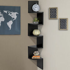 Large Corner Wood Zig Zag Wall Shelf Black Finish Home Decor Furniture