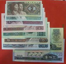 Chinese Banknote the 4th set of RMB 9 Pieces Same Last 4 Arabic Numbers UNC