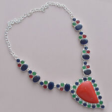 """75 GRAMS!!! DELUXE!! COLORFUL CORAL, EMERALD, SAPPHIRE & RUBY 925 NECKLACE 18"""""""