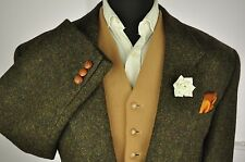 "Vtg Tweed Textured Country Green Brown Tailored Hacking Jacket 46"" #193 STUNNING"
