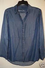 NWT GAP Womens Drapey Denim Indigo Blue Lyocell Button Blouse Top Shirt XS $54