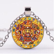 Photo Cabochon Glass necklace Silver Fashion pendant(Aztec Calendar Wheel)