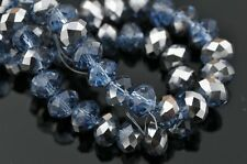 72pcs 6mm Faceted Rondelle Spacer Crystal Glass Beads Light Blue Half Silver