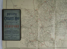 c 1890 old antique Philips' cyclists' map of the county of Hertford