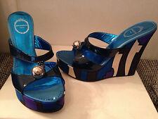 Original Emilio Pucci Pumps Schuhe Shoes Lack Leder 38,5 NP 690USD Navy blau NEU