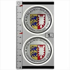 Schleswig-Holstein set of 2 German Number Plate Seal Stadt Domed Sticker Badge
