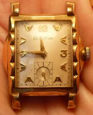 VINTAGE BULOVA WRIST WATCH FACE ONLY FANCY LUGS 10K Gold Filled Bezel 17 JEWELS