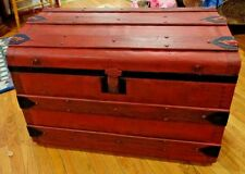 Red Steamer Trunk Shabby Chic Upcycled Painted