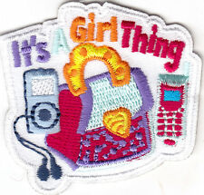 """IT""S A GIRL THING!"" -  IRON ON EMBROIDERED PATCH - GIRLY - GIRL POWER"