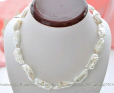 10x16mm white dens biwa Freshwater cultured pearl necklace  17""