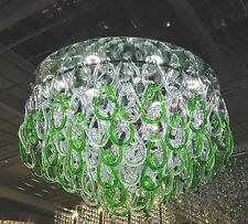 Green Murano Glass Flush Chandelier white LED Ceiling light Lamp ITPL50MU/GR