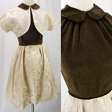 Vintage 50s Brown Velvet & Beige Embossed Floral Colorblock Dress w/Bolero S