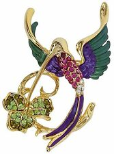 RUCINNI Hummingbird Brooch with Swarovski Crystal and 20K Gold Plated