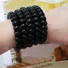 Black Women Girls Extendable Rubber Hair Rope Telephone Wire Hair Ties