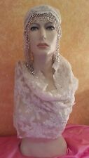 Gatsby 20's Flapper Ivory Lace Pearl Silver Beaded Crystal Bridal Headpiece