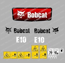 Bobcat e10 MINI DIGGER DECALCOMANIA STICKER SET