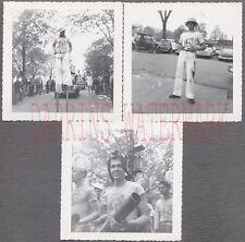 Lot of 3 Unusual Vintage Photos Lunar Landers Moon Men on Parade 700391