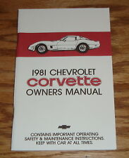 1981 Chevrolet Corvette Owners Operators Manual 81 Chevy
