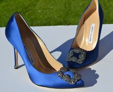 New Manolo Blahnik Hangisi Jeweled Blue Satin Pumps Size 38 / 8 $965