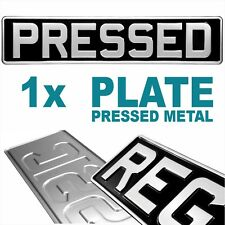 1x Black & Silver Pressed Number Plate Car Metal Classic Vintage GB UK Aluminium