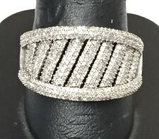 14K White Gold 4.00 CTW Diamond Pave Cluster Stripe Band Ring Size 11.5
