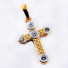 Top 9K GOLD FILLED 2-Tone CZ Cross Pendants for Long Necklace