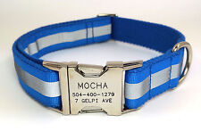 Reflective Personalized  Dog Collar Engraved Customized Buckle  Name Phone Blue