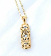 Mezuzah Pendant & Chain Gold Filled.W-Magen David / Star of David on the pendant