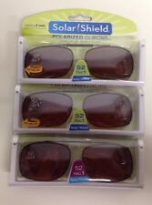 3 SOLAR SHIELD Clip-on Polarized Sunglasses Size 52 Rec 1 Brown Lens Full Frame