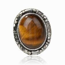 Tibet Silver Tiger Eye Gem Statement Finger Adjustable Cocktail Ring Jewelry