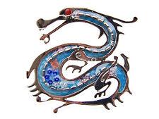 Silver Blue Fierce Dragon Ruby Crystal Rhinestone Eye Costume Brooch Pin