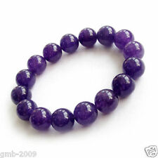 Handmade 12mm Natural Purple Amethyst Round Gemstone Stretchy Bangle Bracelet