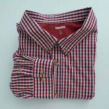 Men's KING SIZE Long Sleeve Shirt Sz 4XL Button Front Checkered Cotton Blend