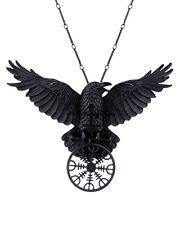 Restyle Goth Gothic Viking Aegishjalmur Helm Of Awe Pendant Necklace Raven Black