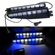 48 LED Car Emergency Warning Strobe Visor Mount Deck Dash Light Bar Blue & White