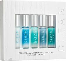 CLEAN Rollerball Warm Cool Cotton Rain Air Fresh Laundry .17 oz Lot EDP of 5 LE