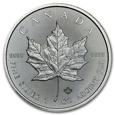 1oz Canadian Silver Maple Leaf, 9999 Fine Silver Bullion Coin, 2016