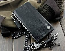 New Heavy Metal Rivet Men Vintage Biker Rock Zipper Wallet With Chain