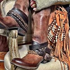 FAST SHIP! BNWOB $325 FREEBIRD BY STEVEN KNOX BROWN BOHO BOOTS BELTS CHAINS US 6