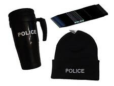POLICE Winter Warmer Set  Thermo Mug, Beanie / Woolly Hat & 10x Pens
