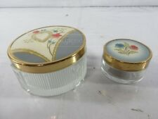 Two Vintage Ornate Makeup Glass Jars with Lids