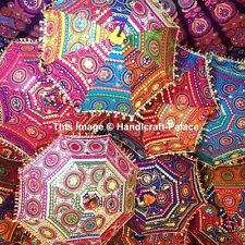 Indian Cotton Parasol Embroidered Colorful Women Summer Umbrella 10pcs Wholesale