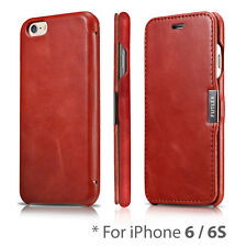 iPhone 6 / 6S, FUTLEX Genuine Vintage Style Leather Folio Case - Slim - Red